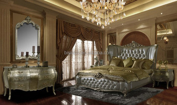 Romantic Victorian Solid Wood Bedroom Furniture, Antique Royal Bedroom Set
