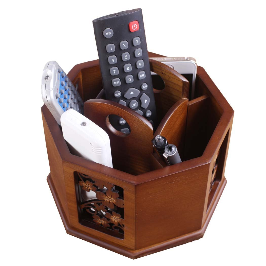 Sixsop Wood Remote Control / Controller TV Guide / Pens / Pencils / Makeup Brushes / Card / Mail / Caddy / Holder / Vanity / Nightstand / Sorting Box (Brown)