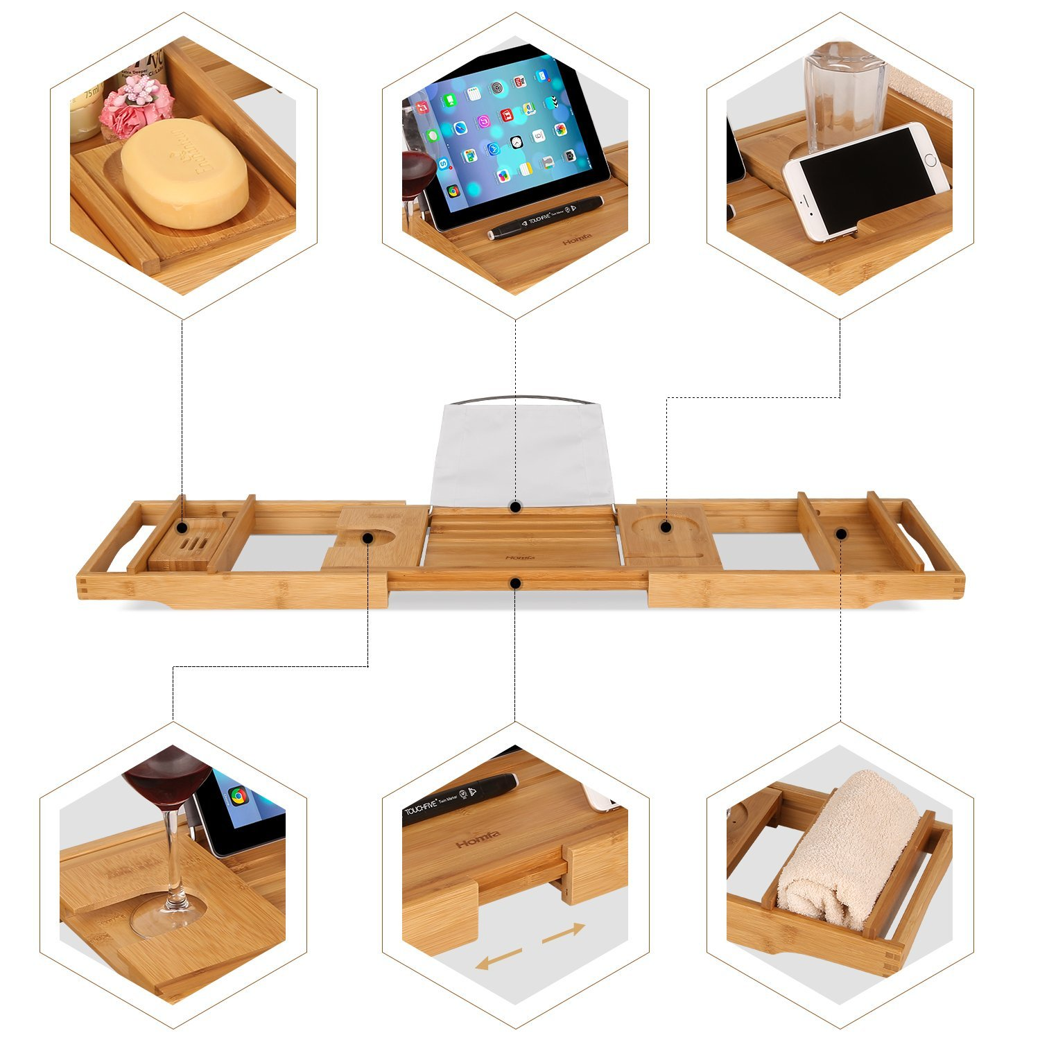 Stylish Bamboo Bathtub Caddy Tray For High Quality And Wholesale 5