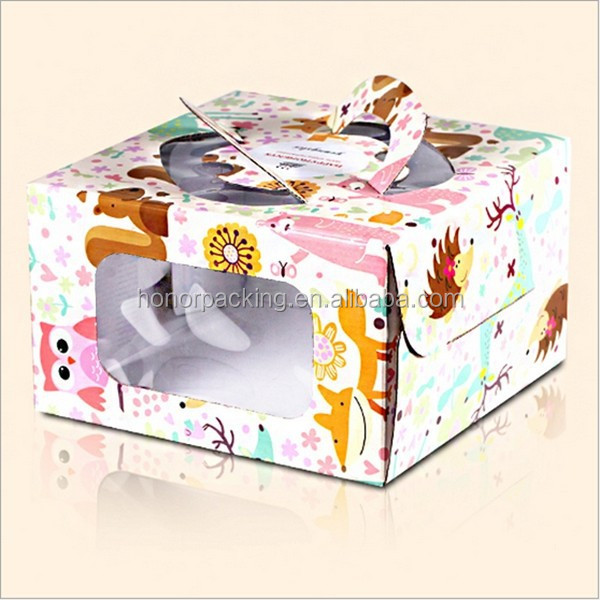 hot selling custom design food packaging paper box cake paper box with die cut handle wholesale