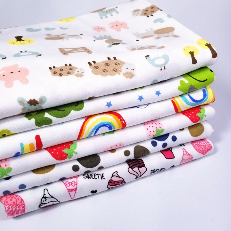 New Baby Jersey Fabric 100% Cotton Combed Knit flat Pattern Fabric for baby sheets