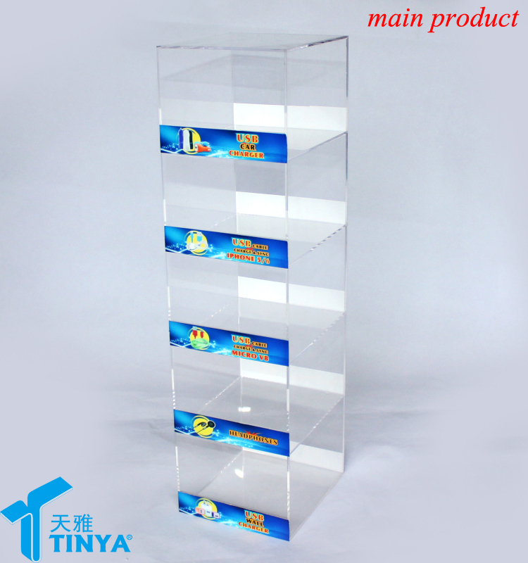 new products clear 5 tiers acrylic cell phone accessories counter case display rack holders