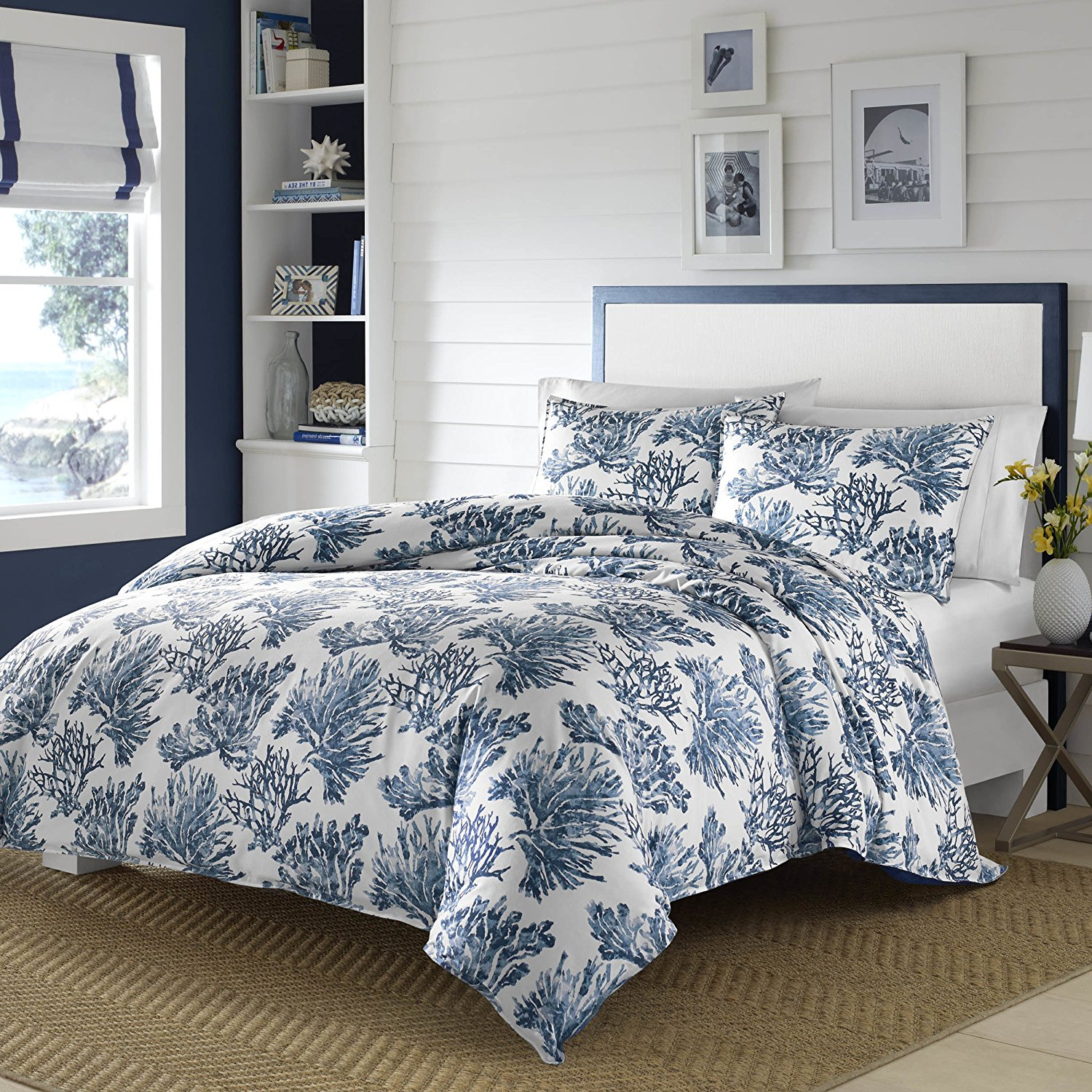 2 Piece Blue Beach Theme Duvet Cover Twin, Coastal Floral Nautical Flower Pattern Bedding, Flowers Corals Coral Leafs Ocean Sea White Solid Color Soft Warm Cozy, Cotton Percale