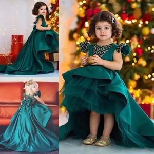 ZH1344Q Green High Low Flower Girl Dresses For Wedding Satin Girls Pageant Gown Big Bow Capped Toddler Kids Birthday Party Dress