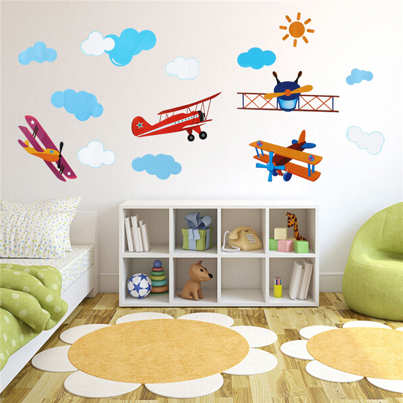 Brand New!DIY PVC Cute Four Air Planes Multicolor Room Decal Home Decor Kids Bedroom Decoration Art Wall Sticker