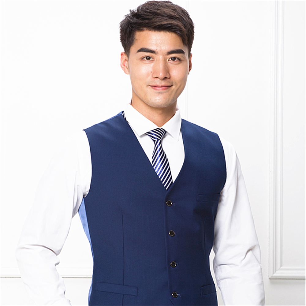 High class polyester slim fit business dress suit vest for man