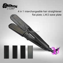 4-in-1 Interchangeable Plates Hair Straightener Crimping Iron Crimper Tool