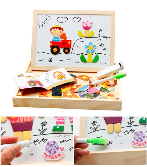 Portuguese Learning Toys : Brinquedos educativos de madeira prancheta magnética