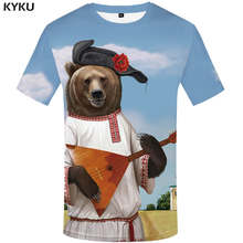 Мужская Фитнес-футболка KYKU, черная футболка с объемным изображением медведя и русского флага, лето 2019(Китай)