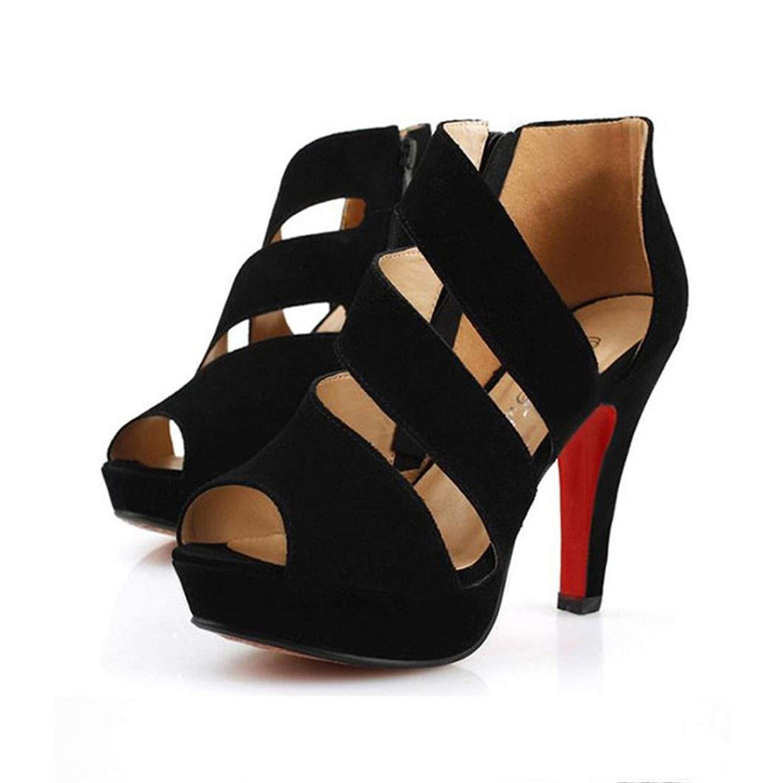IEason-shoes Clearance Women's Spring Casual Thin Heels Shoes Peep Toe High-Heeled Shoes