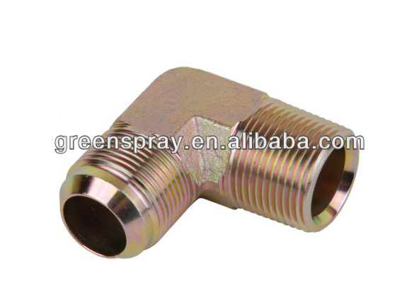 90 Degree Elbow JIC Male Thread 74 Degree Cone / NPT Male Thread Hydraulic Tube Fitting 1JN9
