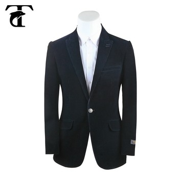 New Design Made To Measure Black Corduroy Velvet Blazer For Men