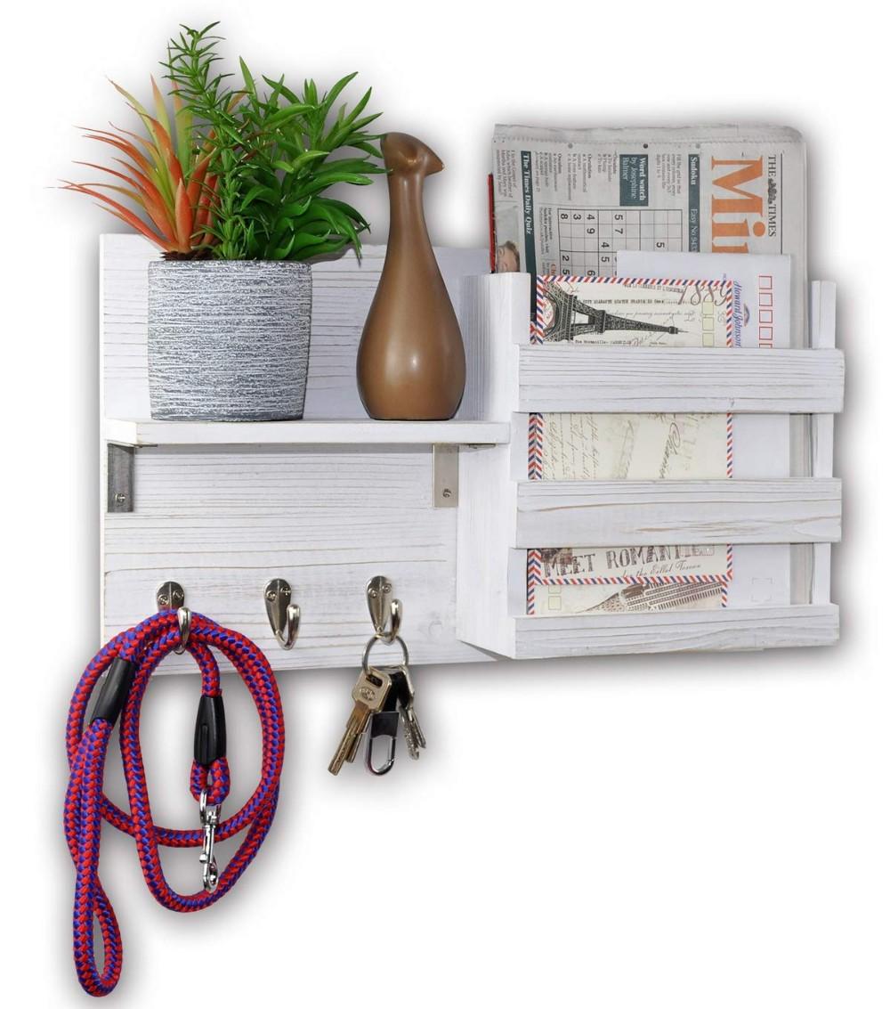 Key Hooks /& Mail Holder Shelves Wall Mounted Dark Wood Entryway Coat Racks