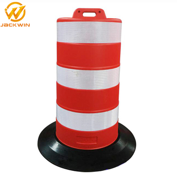 Durable Quality Road Safety Product Plastic Traffic Barrel with rubber base