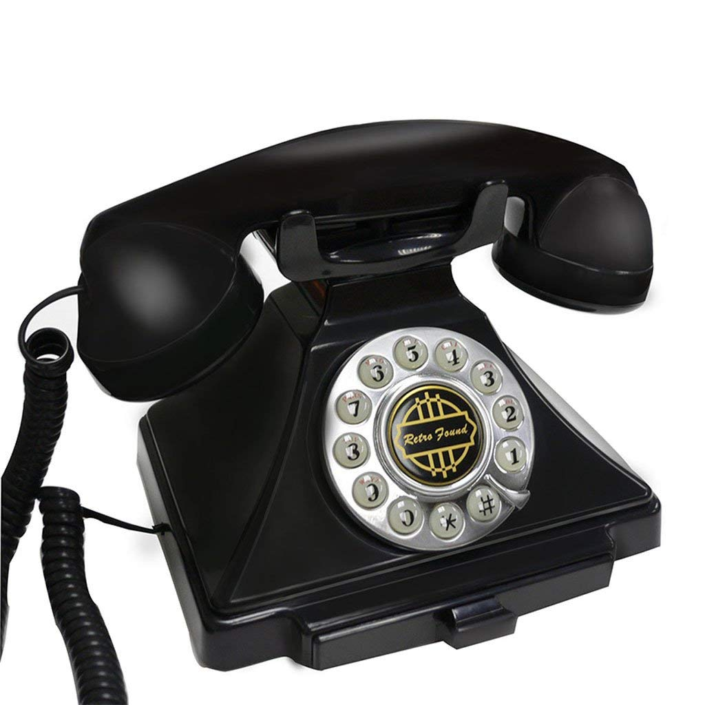 ZYN Phone Rope Fixed Landline Antique Phone Retro European Style Creative Home Office Hotel NYZ (Color : Black, Size : L18.5CMH16CM)
