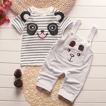 DDE11-A Spring baby girl boy clothing set cartoon cotton shirt overalls baby suit babies & kids outfit children clothes sets