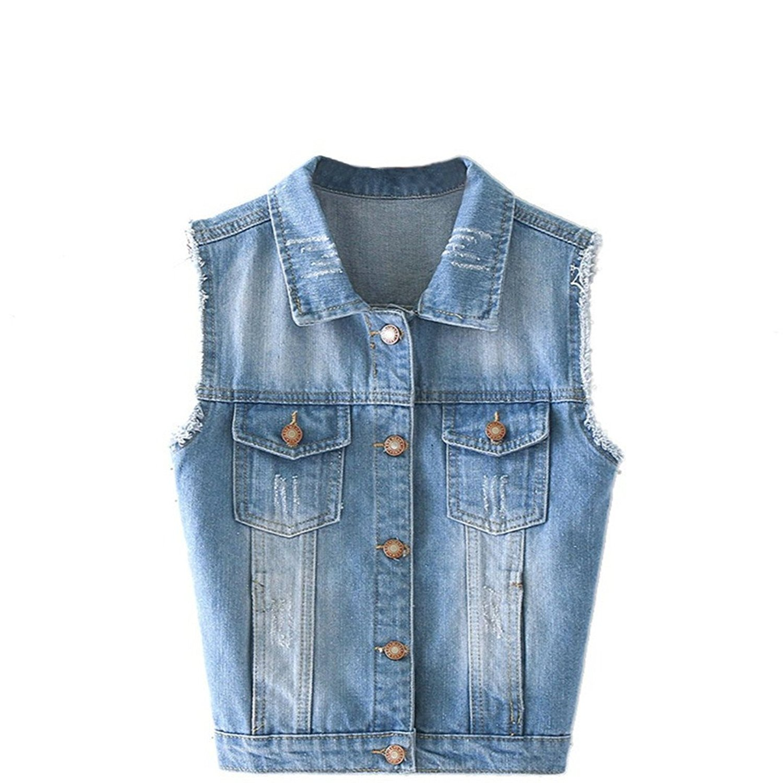 a04706458ed53 Get Quotations · Fashion Autumn Women Sleeveless Denim Jacket Vest  Outerwear Tops Casual Girls Denim Coats