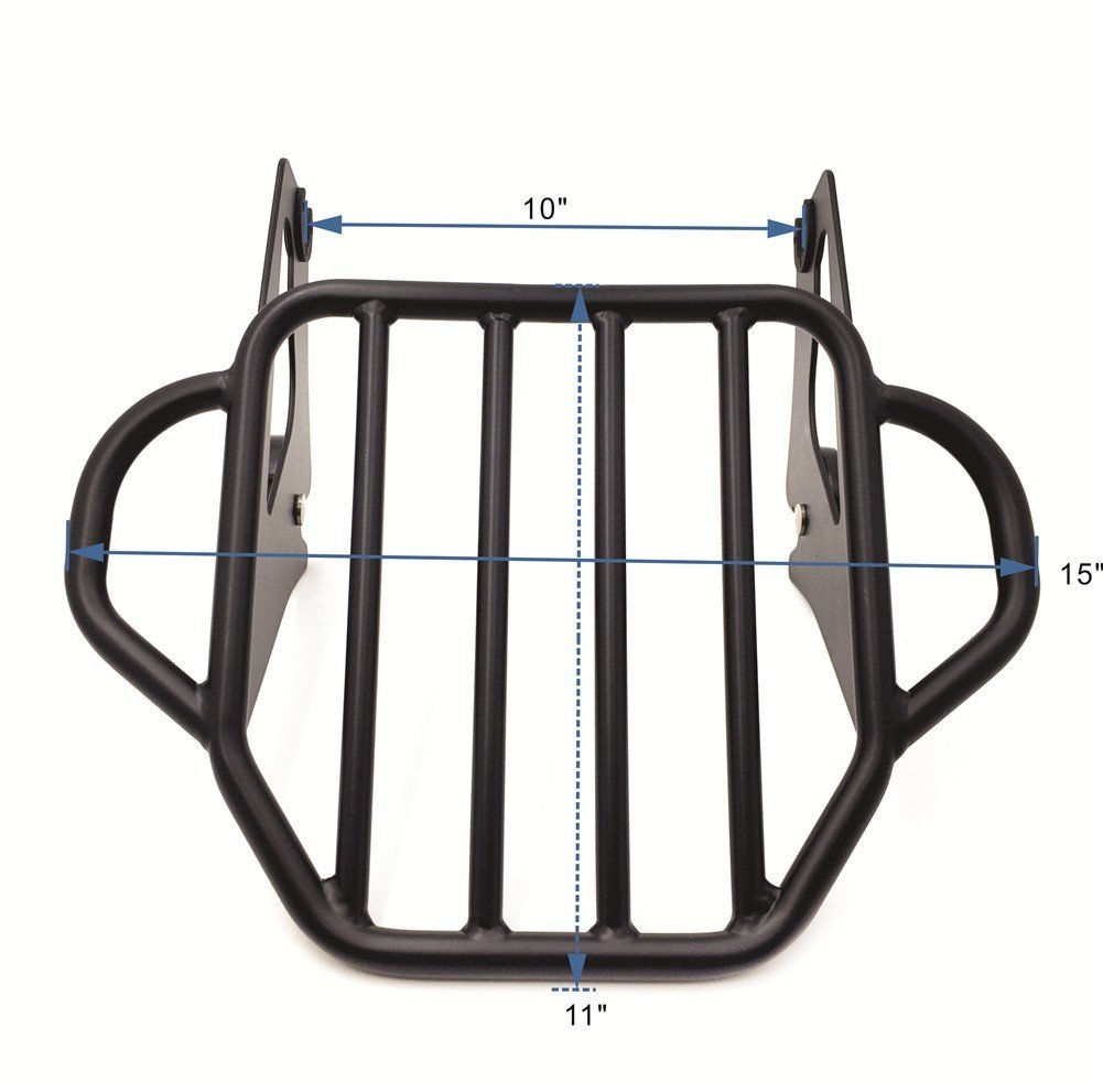 Motorcycle Flat Black King Detachable Luggage Rack For 2009-2017 Harley Touring Road King / Street Glide / Road Glide