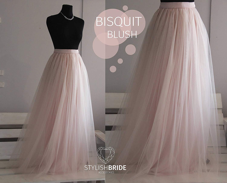 f675ec555 Get Quotations · Biscuit Blush #103 Long Tulle Skirt Casual Floor length  Women's, Wedding Light pink skirt