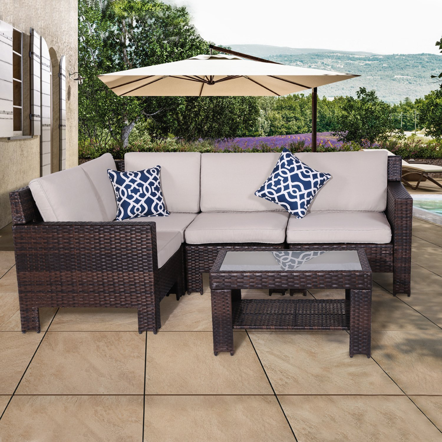 Get Quotations · Diensday Patio Outdoor Furniture|Sectional Sofa Couch Sets  Clearance Deep Seating Cushions Set, Olefin