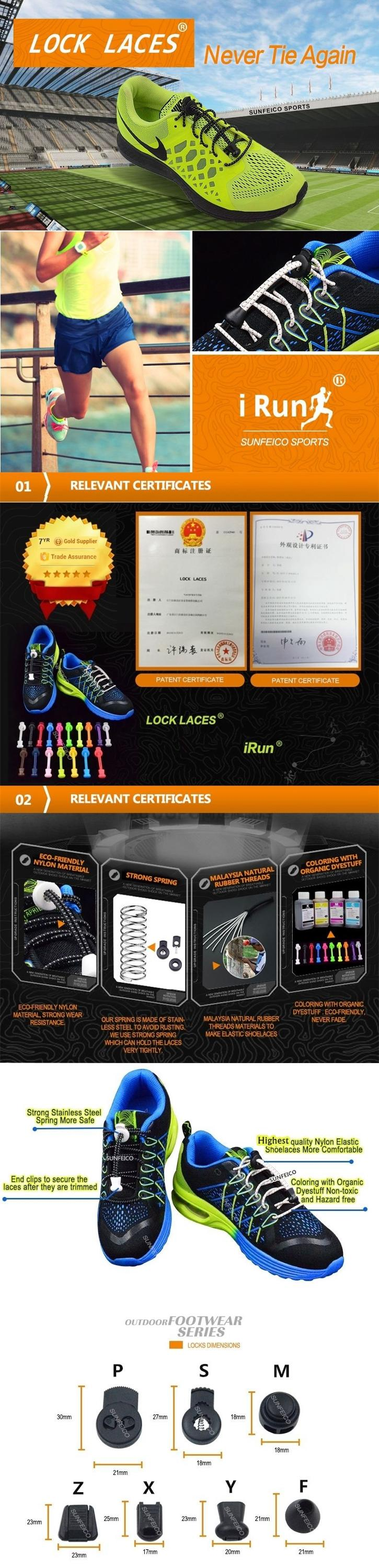 (MOQ:100pair) No Tie Elastic Shoelaces Lock Laces for Sneakers available in 58 colors with 12 locks options +6 packaging options