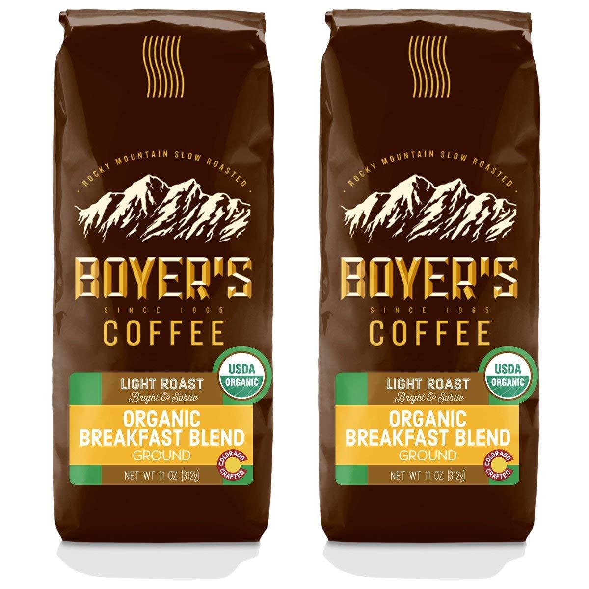 Organic Breakfast Blend, Light Roast, Ground Coffee, 2-Pack (22oz)