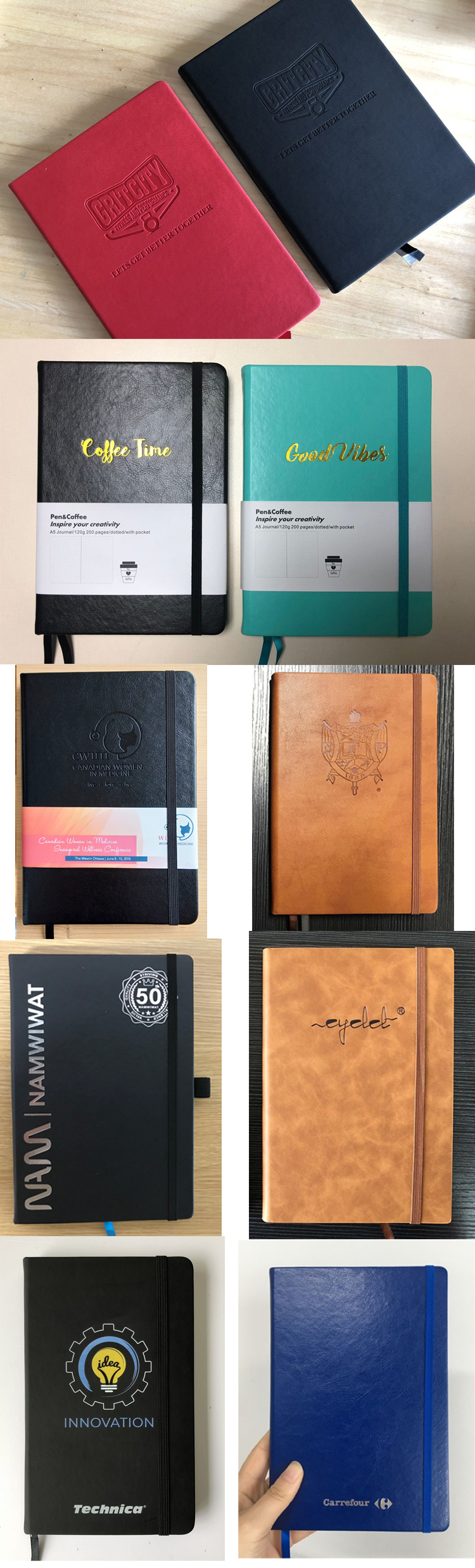 Personalized A5 size vintage refillable leather cover handmade leather journal travel custom notebook diary