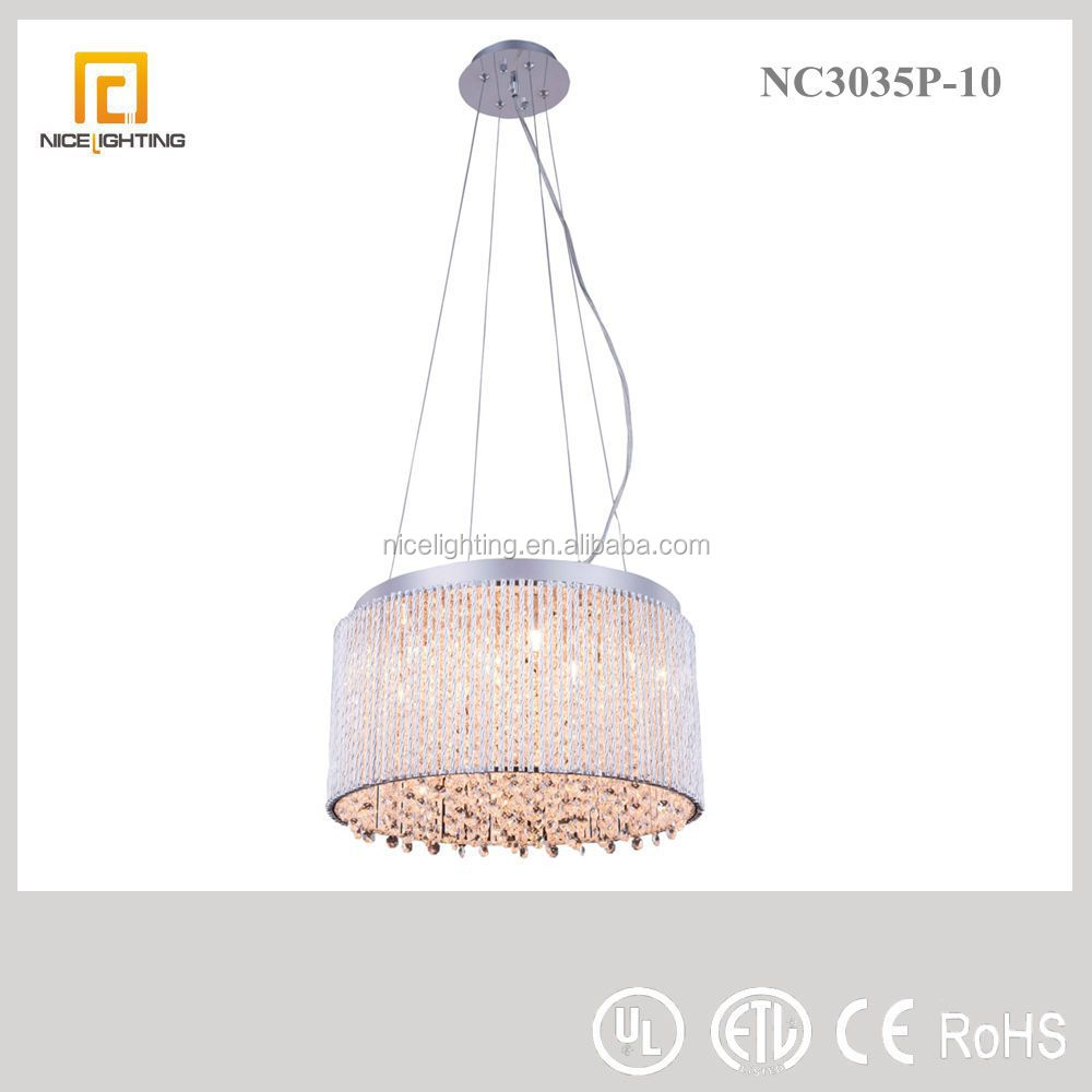 zhongshan lighting factory pendant lamp aluminum pipe with crystal handing