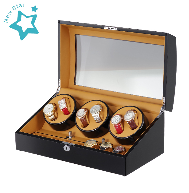 Udgtee XTELARY Luxury 3 Motor 자동 회전 Watch Winder 6 + 7 Leather Storage Display Case 상자