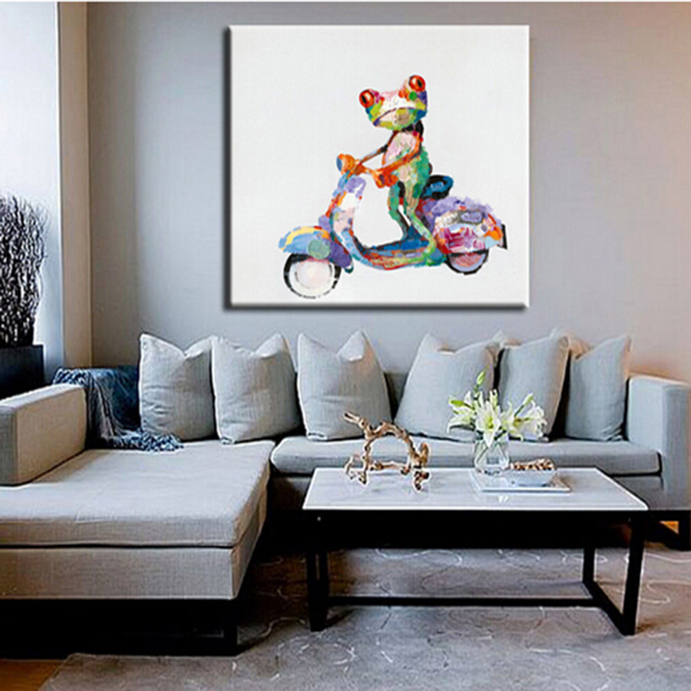 buy ride a bike frog picture handmade modern animals painting home decor. Black Bedroom Furniture Sets. Home Design Ideas