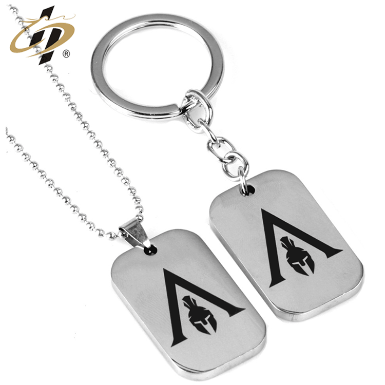 Custom High-quality stainless steel silver metal dog tag keychain with chain