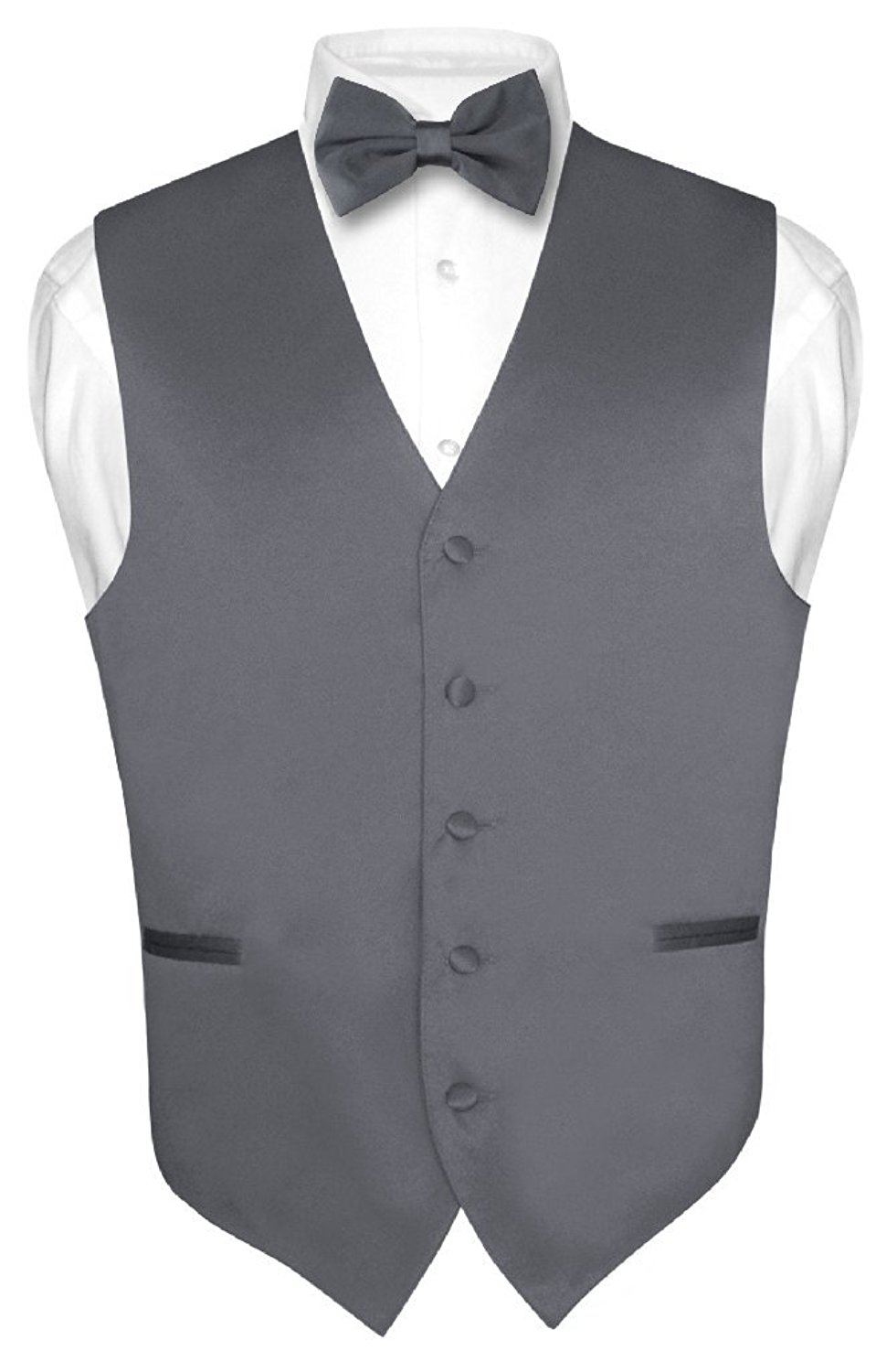 c1ed0499b483 Get Quotations · Men's Dress Vest & BowTie Solid CHARCOAL GREY Color Bow Tie  Set for Suit ...