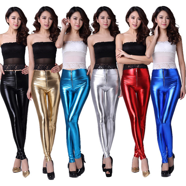 Women Imitation Leather High Waist Zipper Sexy Leggings