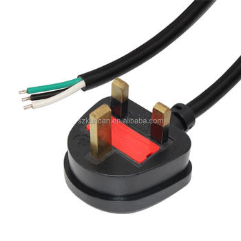 BS approved uk plug uk standard ac power cord cable 3 prong shenzhen kuncan