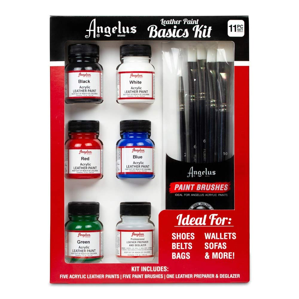 Angelus Leather Paint Basics Kit, Contains 1 Ounce Bottles of Black, White, Red, Blue, Green and Preparer, Plus a 5-Piece Angelus Brush Set (799-01-KIT)