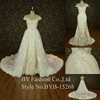 2016 new style dress with detachable big train luxury lace real sample wedding dress