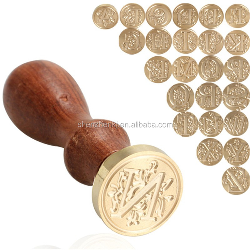 Retro Wood Stamp Classic 24 Letter A-Z Alphabet Initial Sealing Wax Seal Stamp