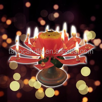 Singing Music Musical Happy Birthday Candles Lotus Flower Sparkler Cake Party