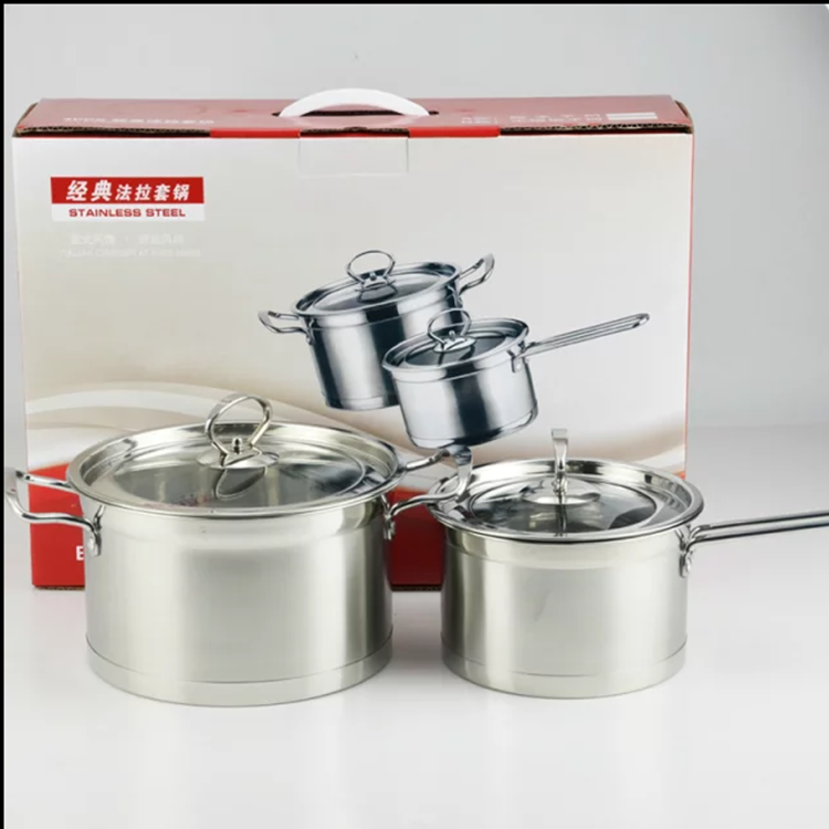 Factory High quality 3 pcs stainless steel induction cooking pot set / sauce pot set