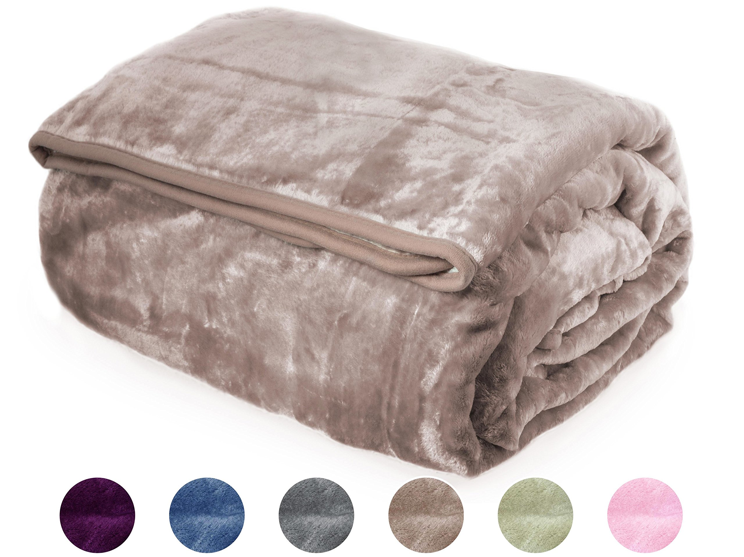 "Crover Archangel Ultra Silky Soft Heavy Duty Quality Korean Mink Reversible Cloud Solid Blanket Queen SIze 83""x94"", Cocoa Brown"