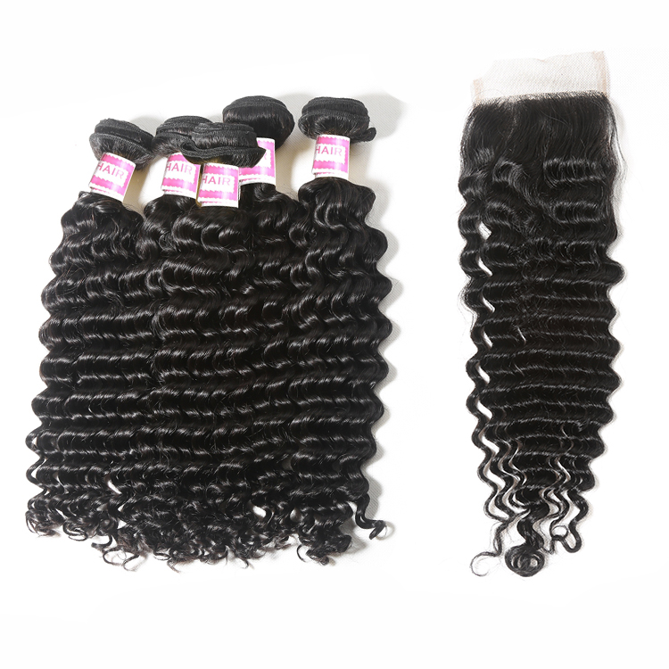 Free Shipping Deep Wave Bundles With Closure Brazilian Human Hair Weave 3 Bundles With Closure Remy Hair Extension HOT SELL, Natural color