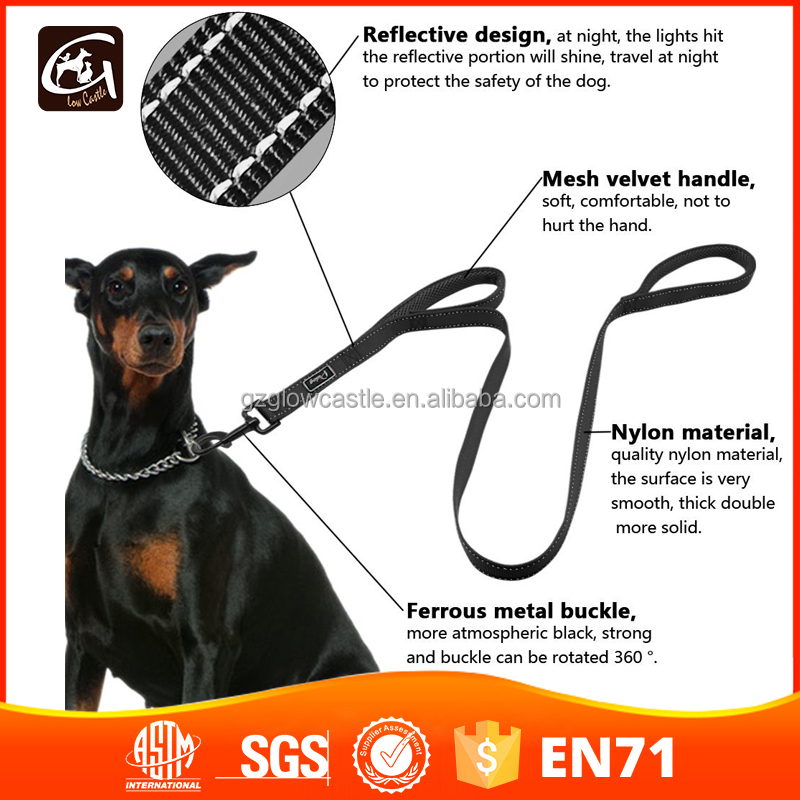 Double Handle Traffic Dog Leash With Reflective Thread