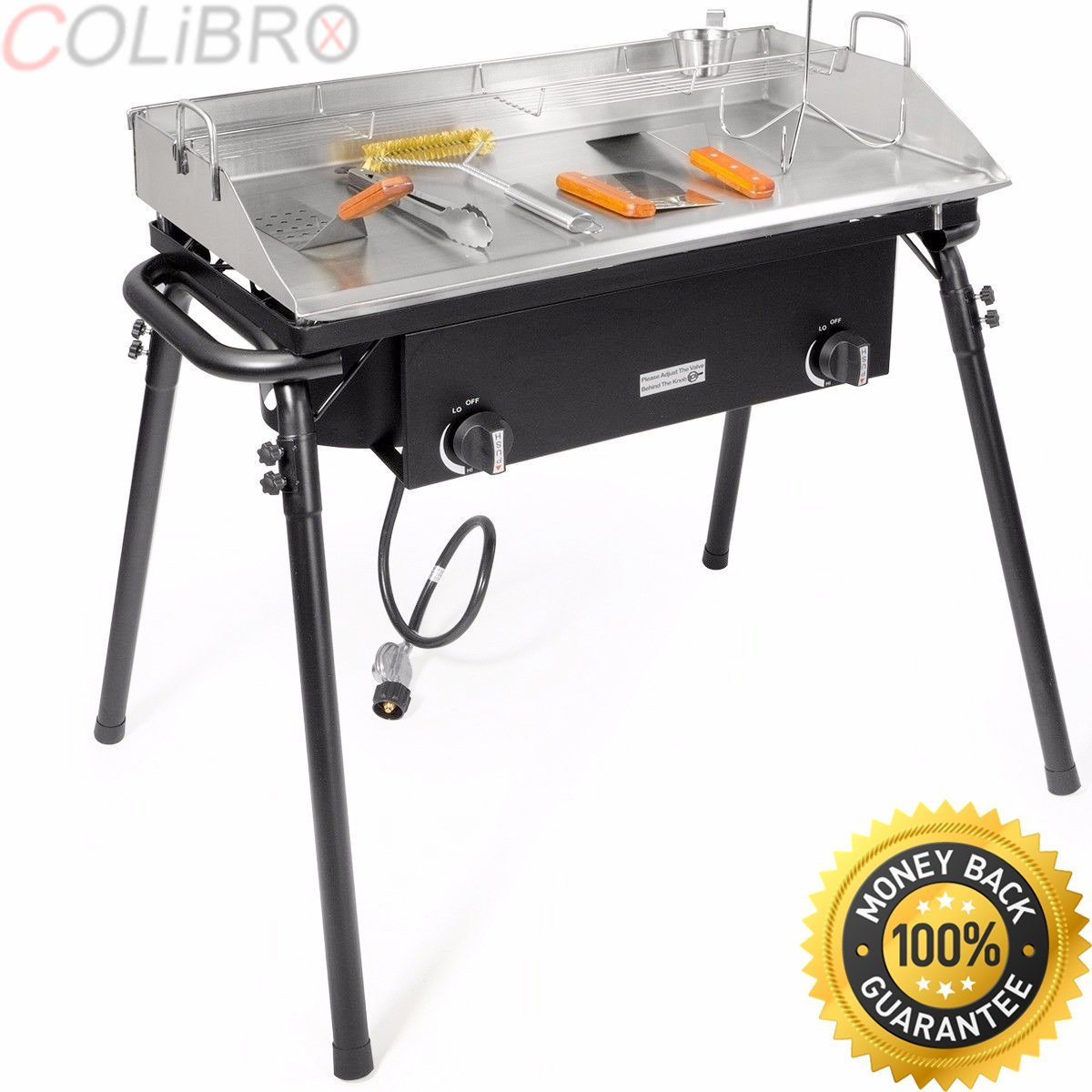 COLIBROX--9pc lpg gas Propane double Stove Burner w flat griddle Stainless comal Plancha. portable propane gas stove burner. portable propane gas stove 2 double burner range with stand.kitchen stoves.