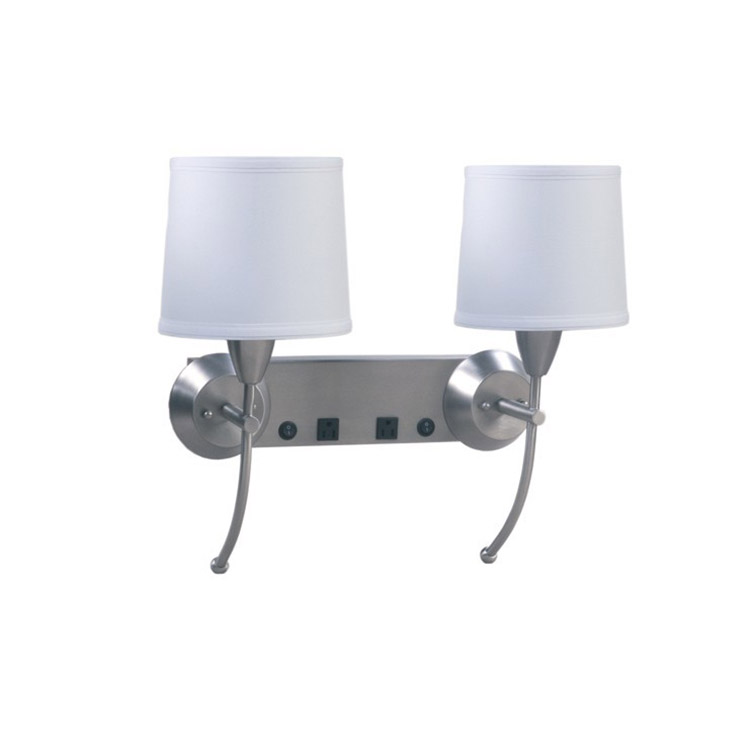 Double Wall Lamp for hotel with Brushed Nickel Finish UL CUL