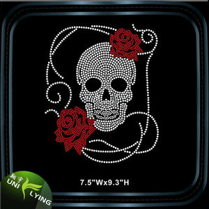 Hot Sale Custom Skull Rhinestone Design Hotfix Transfer T-shirt Templates