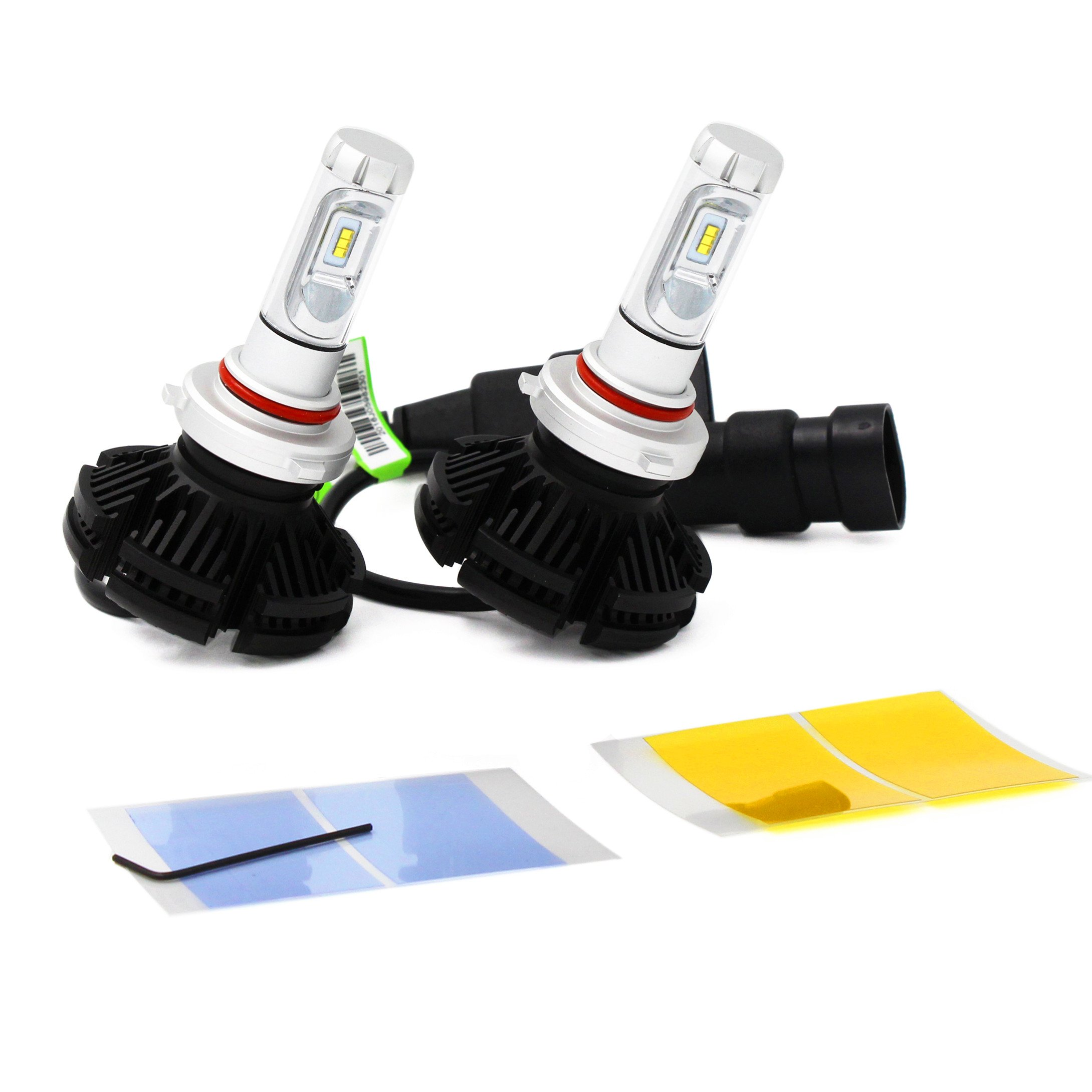 Alla Lighting 2017 X3 Newest 6000lm DIY 3 Colors White Gold Yellow Ice Blue Xtremely Super Bright High Power ZES Chips Mini 9005 HB3 LED Headlight Conversion Kits Bulbs -- 2 Year Warranty (9005 HB3)