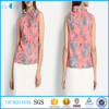 Ladies fancy blouse high neck floral print tops summer fashion sleeveless casual blouse