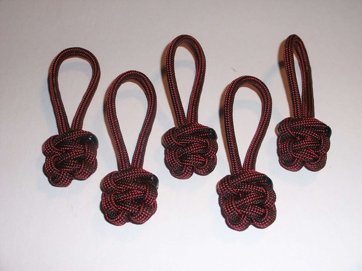 RedVex Paracord Zipper Pulls / Lanyards - Lot of 5 - ~2.5 - Red & Black
