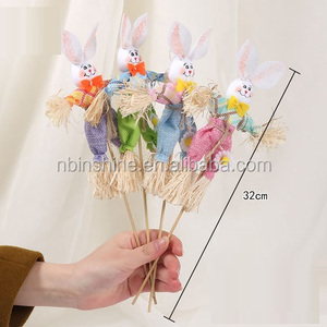 CU2706 Rabbit Shaped Easter Stick , Easter Bunny Decoration , Easter Straw Rabbit