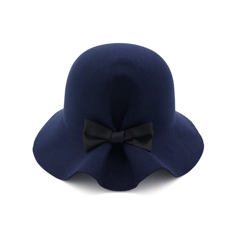 2e61a306eea Get Quotations · Batsomer Bow Tie Lady Fedoras Wool Felt Hats for Women Fedora  Cap Girl Panama Hat Z
